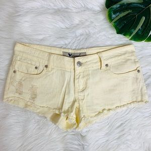 Wet seal Distressed Yellow Shorts Size 1